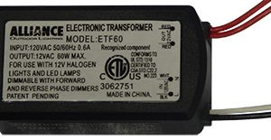 Alliance 60w Transformer - ETF60-0